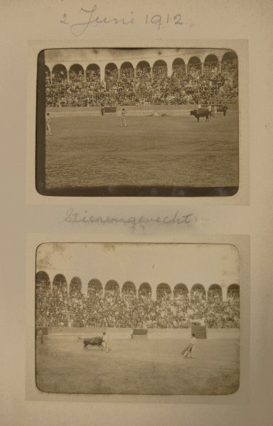 2 Juni 1912 / Stierengevecht.  From the album Spain.  There are several page with photographs of bullfighting.  2008.001.027