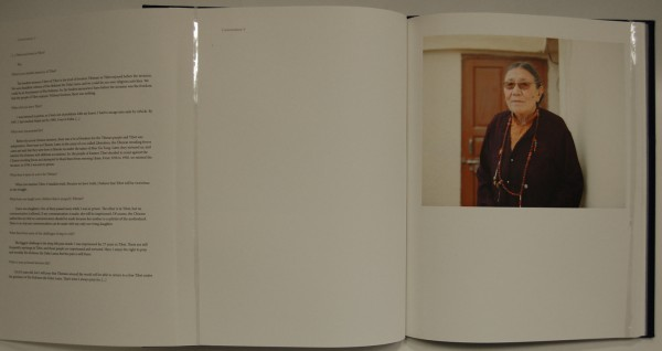 Double page spread with a portrait of a woman and text telling her story